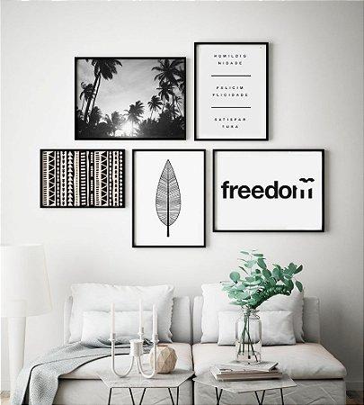 Conjunto 5 Quadros Decorativos Preto e Branco - Geométrico, Folha Boho, Coqueiros, Frase, Freedom
