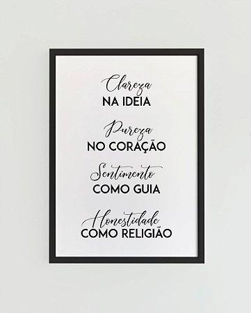 Quadro Decorativo Poster Clareza na Ideia - Frase, Música, Emicida