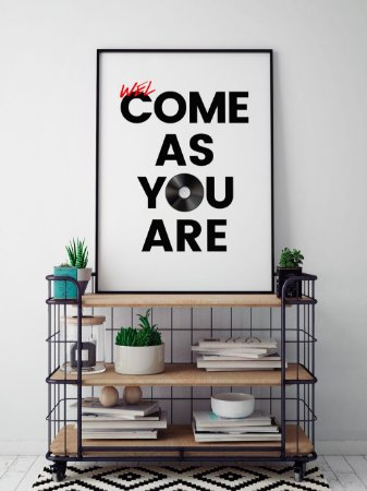 Quadro Decorativo Poster welCOME AS YOU ARE - Frase, Música, Banda, Rock, Nirvana