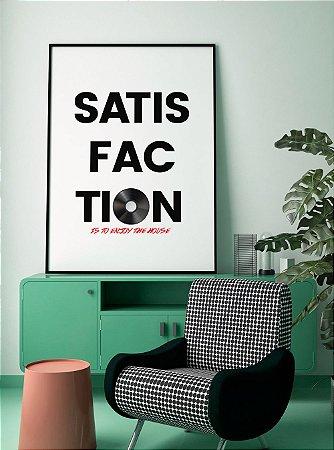 Quadro Decorativo Poster Satisfaction - Frase, Música, Banda, Rock, Rolling Stones