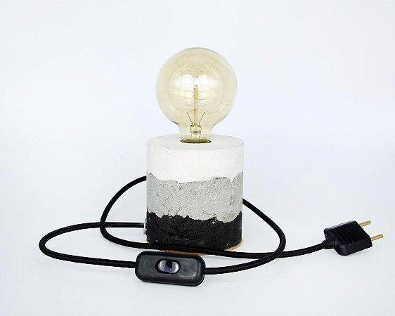 Luminária de Cimento Concreto Paula Goedert - Degradê branco, cinza, grafite