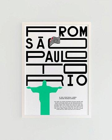 Quadro Decorativo Poster Alma da City From São Paulo To Rio Fundo Branco