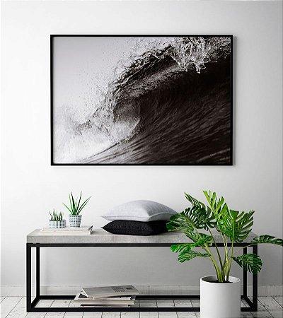 Quadro Decorativo Poster Fotografia Onda - Mar, Surf, Preto e Branco