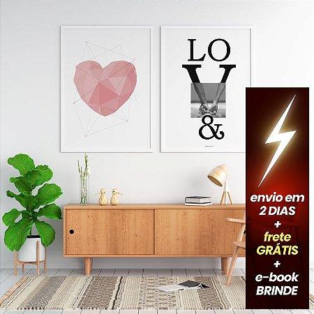 Quadro Coração Rosé + Quadro Love + E-Book Minimalismo: Frete Grátis, Envio Expresso