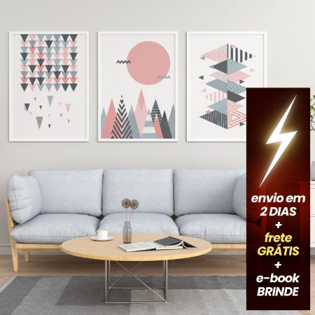 Conjunto 3 Quadros Geométricos Escandinavo + E-Book Minimalismo: Frete Grátis, Envio Expresso