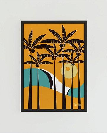 Quadro Decorativo Poster Plameira Tom Veiga - Praia, Onda, Coqueiros