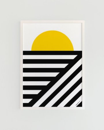 Quadro Decorativo Poster Sun Stripes, Arte Alma Da City - Sol, Listras, P&B