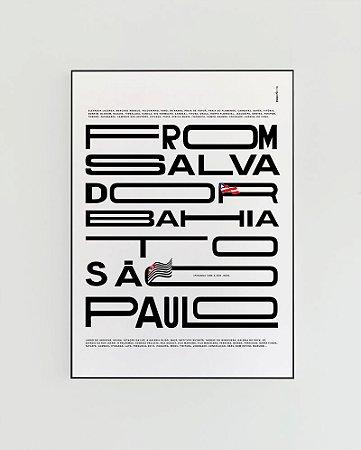 Quadro Decorativo Poster Alma da City From Salvador To São Paulo Fundo Branco