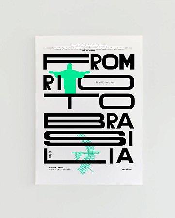 Quadro Decorativo Poster From Rio To Brasília Fundo Branco