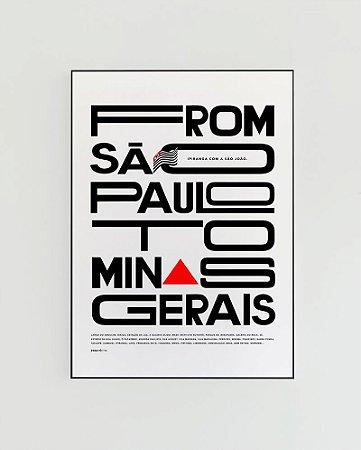 Quadro Decorativo Poster From São Paulo To Minas Gerais Fundo Branco