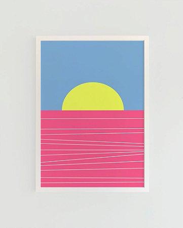 Quadro Decorativo Poster Pôr do Sol Mar Rosa