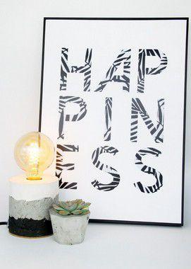 Quadro Happiness + Luminária Concreto + Vaso Concreto + E-Book Minimalismo: Envio Expresso