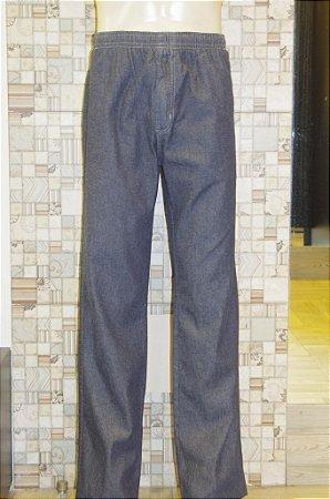 Calça de Elástico Jeans Escuro