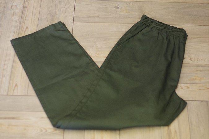 Calça de Elástico Farber Sarja Verde Musgo