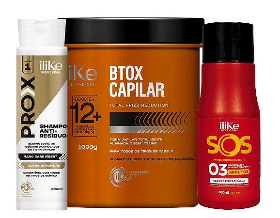 iLike  Btox Capilar - 1 KG + SOS Antiemborrachamento - 300ml + Shampoo Anti-Resíduos - 300ml