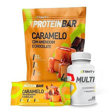 Combo Protein bar barrinha de proteínas e multivitamínico MULTI 60 cápsulas