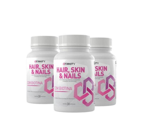 Kit 3x Hair Skin & Nails - 30 cápsulas cada