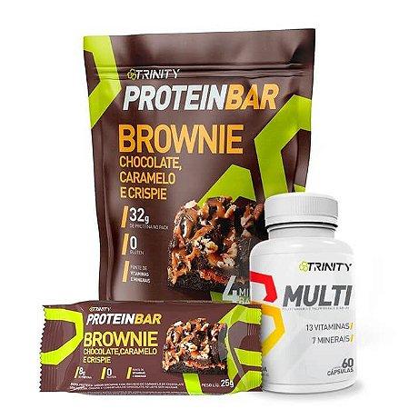 Combo Protein bar barrinha de proteínas brownie e multivitamínico MULTI 60 cápsulas
