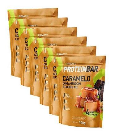 Kit com 6 Protein Bar - Caramelo com amendoim e chocolate