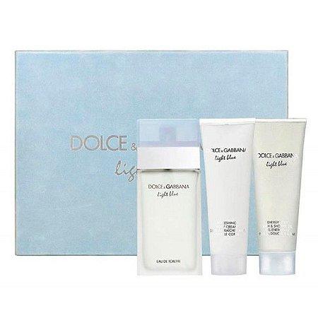 Kit Light Blue Feminino Travel Edition Perfume 100ml + Creme Corporal 100ml + Gel de Banho 100ml