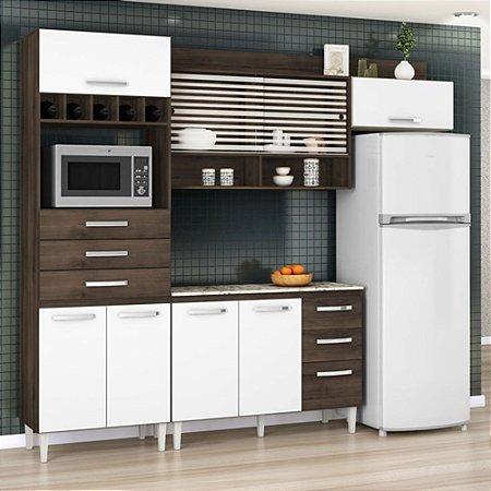 Cozinha Compacta Gabriela 8 Portas 6 Gavetas - Aramóveis  C/ Balcão