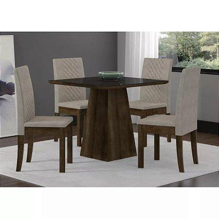 Conjunto Mesa Cristal 90X90 Rustic Com 4 Cadeiras Cristal Tec. Bege Pena Soneto