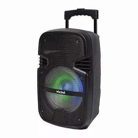 Caixa Amplificadora C/ Rodinhas 80w Rms Com Bluetooth Bivolt