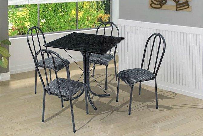 Conjunto Mesa + 4 Cadeiras Velgo California Preto