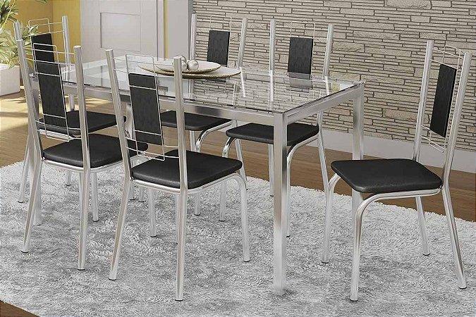 Mesa Vidro Kappesberg Elba com 6 cadeiras Florença Marrom