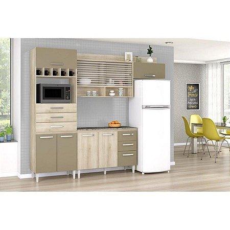 Cozinha Compacta Gabriela 8 Portas 6 Gavetas Com Balcão - Aramóveis