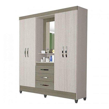 Guarda roupa Moval Capri 4 portas 3 gavetas com espelho