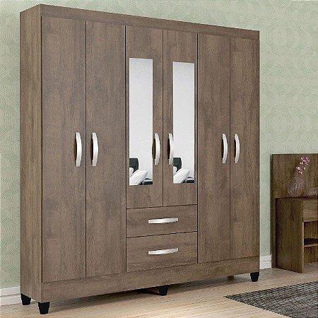 Guarda roupa Casal Real Atualle com Espelho 6 Portas 2 Gavetas