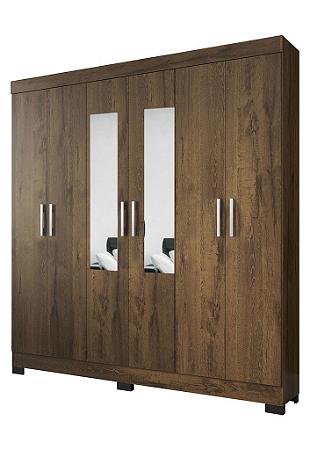 Guarda roupa Atualle Pinheiro 6 portas C/ espelho