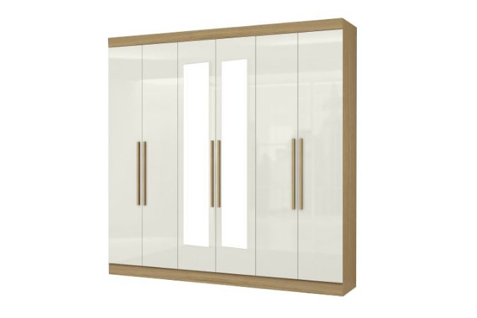 Guarda roupa Aramoveis 6 portas 2 gavetas com espelho 230