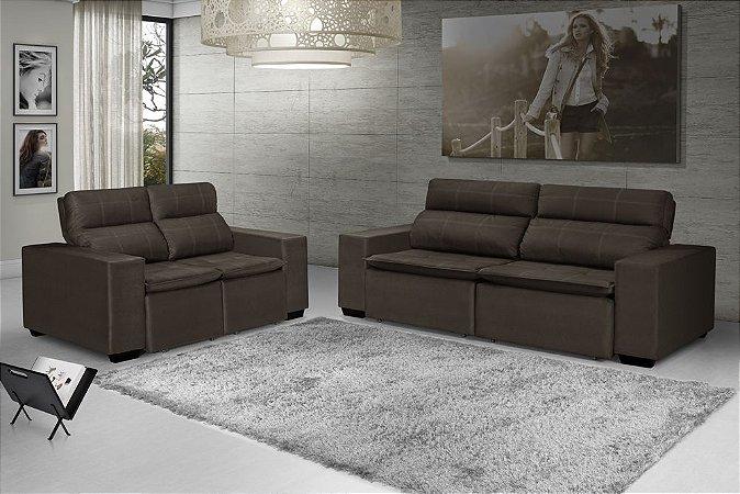 Sofá LR 3x2 lugares retratil reclinável veludo marrom
