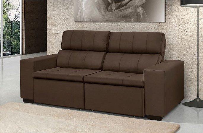 Sofá LR retratil reclinável 2.0m veludo marrom