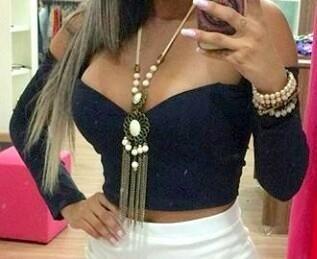Blusa Cropped Preta Cigana com Bojo