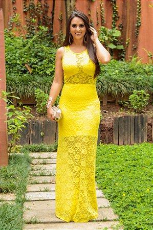 Vestido longo renda Amarela