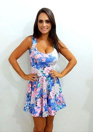 Vestido Princess estampa floral Azul