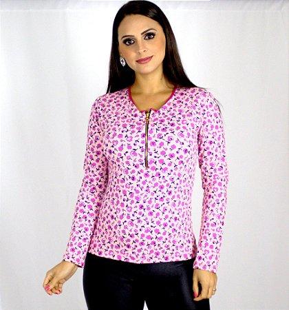 Blusa floral rosa com zíper de manga longa
