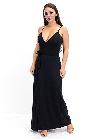 Vestido transpassado longo preto