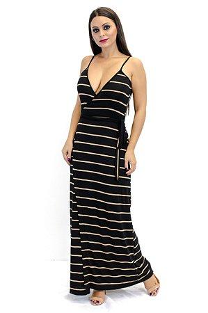 Vestido transpassado longo preto e dourado