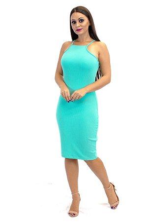 Vestido midi malha canelada azul tifani