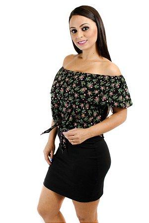 Blusa cropped amarração floral preto