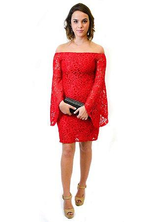 Vestido ombro a ombro renda manga evasê vermelho