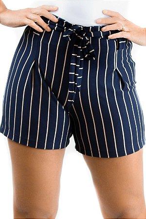 Shorts cintura alta marinho e dourado viscolycra