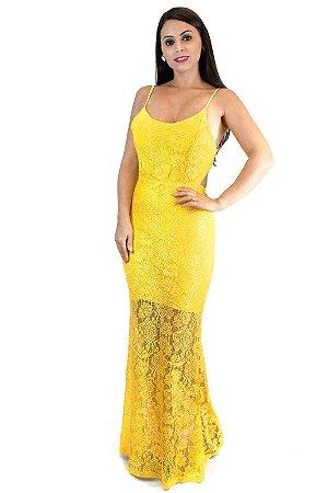 Vestido longo renda sereia amarelo