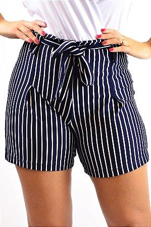 Shorts cintura alta marinho e off viscolycra