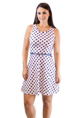 Vestido básico malha crepe geométrico