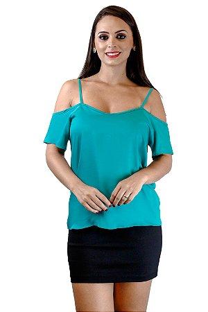 Blusa alça com ombro de fora verde esmeralda